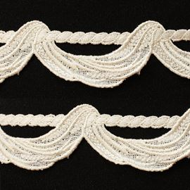 Embroidered Grician Trim, 50mm, Bridal White