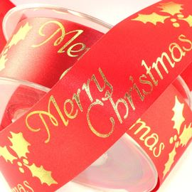 Merry Christmas & Holly Ribbon. Red - 36mm