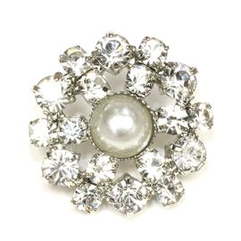 Art Deco Diamanté & Pearl Button. Antique Silver - 18mm