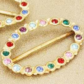 Diamanté Encrusted Slider Oval Buckle. Gold/Rainbow. 44mm X 29mm