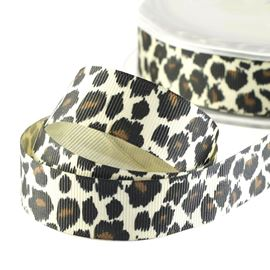 Grosgrain Print Ribbon - Leopard 22mm