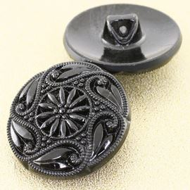Vintage Mourning Button. Black. 27mm/Ligne 43