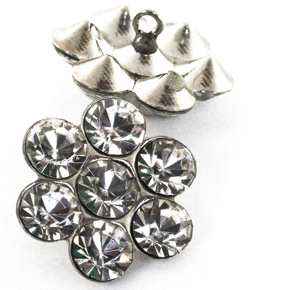 Daisy Diamanté Button. Shiny Silver - 11mm