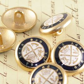 Enamel Brass Military Button - Gold/Navy/White 21mm