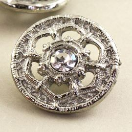 Edwardian Rose Metal Button. Silver & Crystal. 15mm
