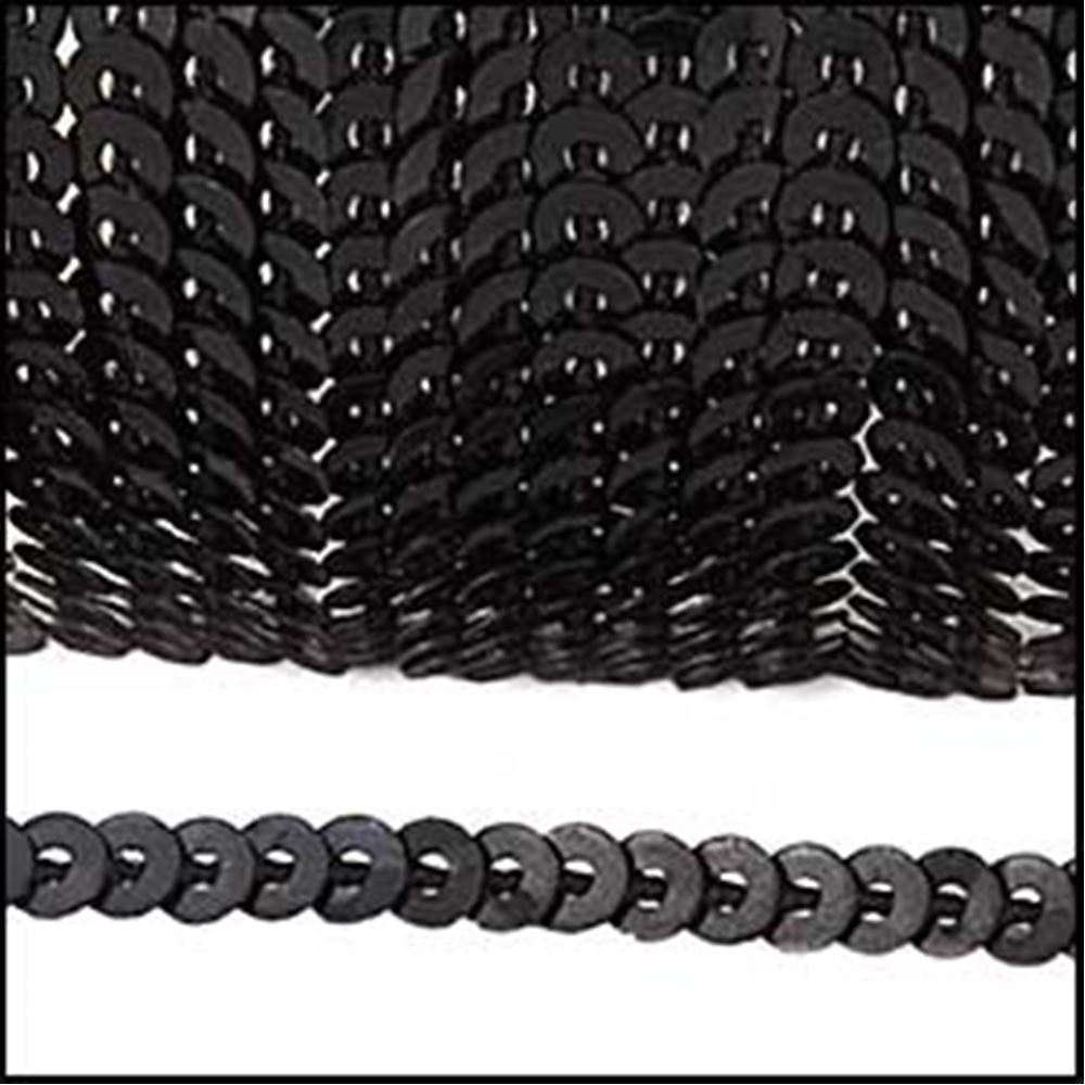 Strung Sequins. 3mm - Glossy Black