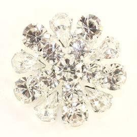 Flower Shape Diamante Button