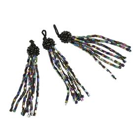 Mini Bugle Tassels. Pack Of 10 - Petrol Black
