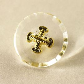 Navy Rope Button. Clear. 19mm / Ligne 30