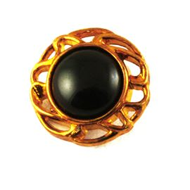 Tiger Eye Button. Bronze/Black. 20mm / 32 Ligne