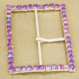 Diamanté Encrusted Rectangle Buckle. Lilac Ab. 60mm X 45mm