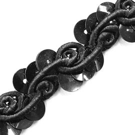 Cornelli & Sequin Swirl Trim, 18mm, Black