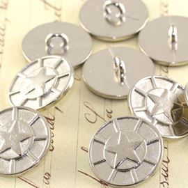 Star Military Button - Silver 17mm
