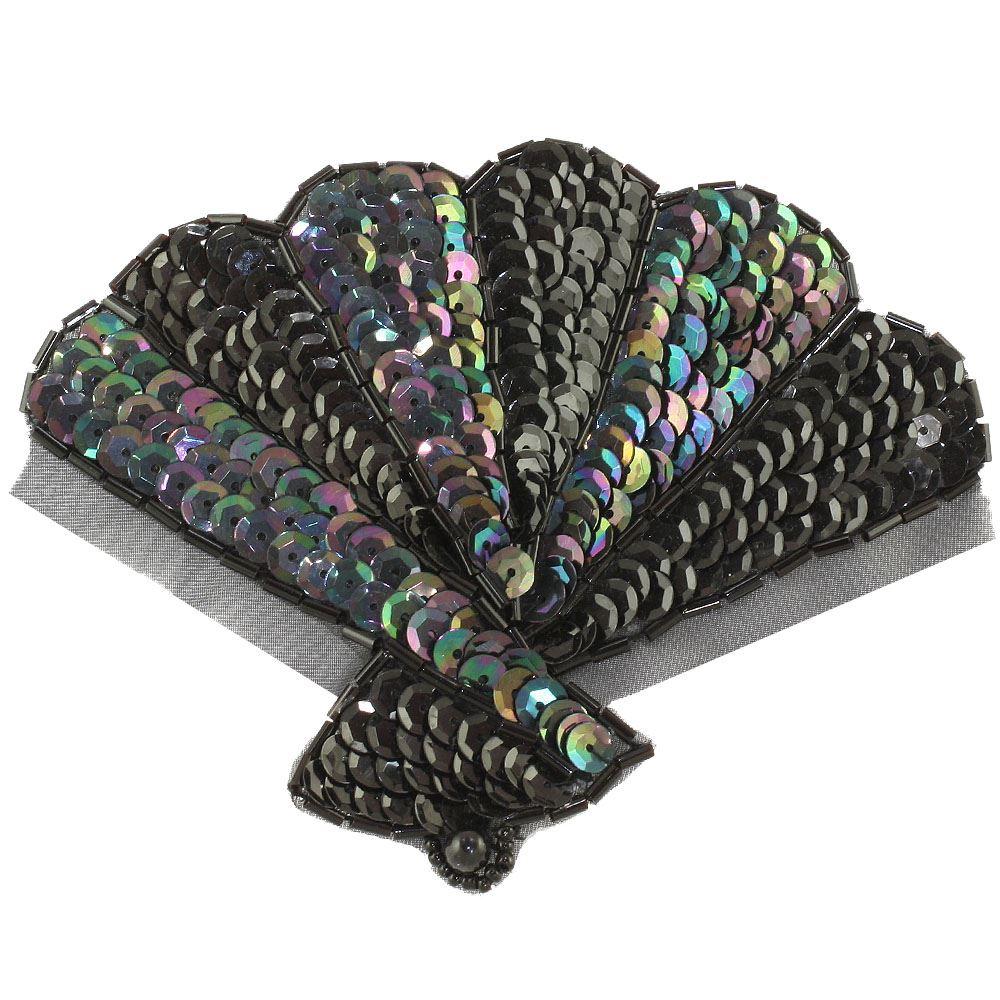 art deco sequin fan applique. Black Bedroom Furniture Sets. Home Design Ideas