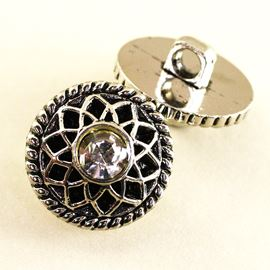 Filigree Crystal Button. Antique Silver. 18mm/Ligne 28