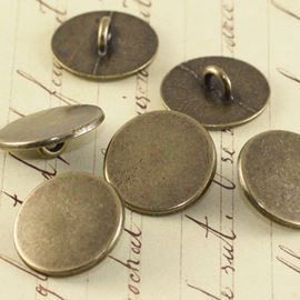 Flat Top Vintage Button - Bronze 17mm