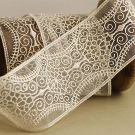 Wide Embroidered Ivory Lace Trim.  55mm