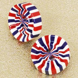 Britain Rock Button. Red/White/Blue. 14mm / Ligne 22
