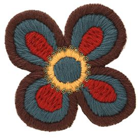 Large Woolly Flower Motif. Orange