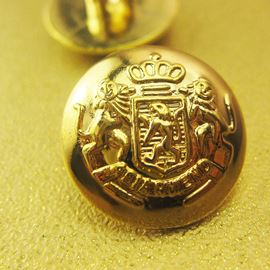 Crest Button. Gold. 15mm / 23 Ligne