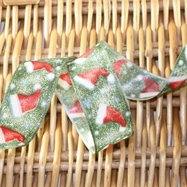 Santa Hat Wired Edged Ribbon - 40mm Green