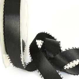 Picot Edge Satin Ribbon - Black. 15mm