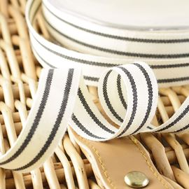Organic Cotton Stripe Ribbon - Natural 16mm