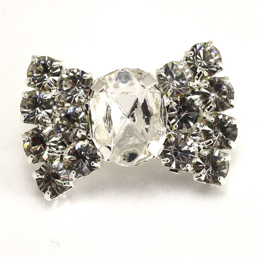 Bow Shape Diamante Button