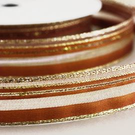 Satin Wired Ribbon With Sheer Bands. 40mm. Wine