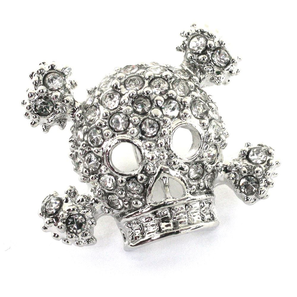 Skull & Cross Bones Diamante Button. Shiny Silver. 18x15mm