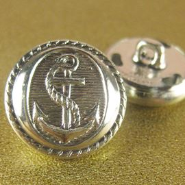 Retro Anchor Button. Silver. 19mm / 30 Ligne