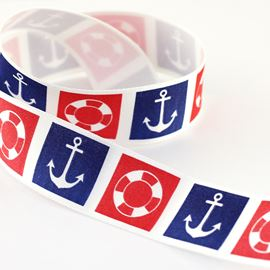 Ring & Anchor Ribbon. 25mm
