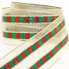 Wired Edge Xmas Check Stripe Ribbon. 64mm