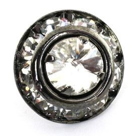 Duchess Diamante Button. Gunmetal. 11mm