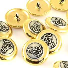 Brass Military Crown Button - Gold. 20mm