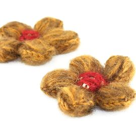 Choc-Orange Hot Fix Woolly Flowers. 1 Pair