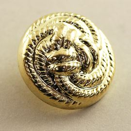Rope Trio Button. Gold. 18mm / 28 Ligne