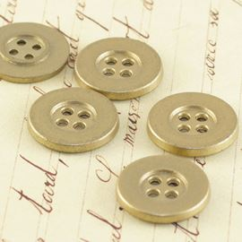 Flat Button - Matte Gold 17mm