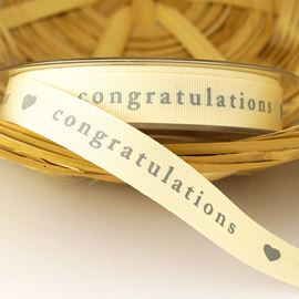 Congratulations Grosgrain Ribbon. 15mm. Natural & Grey
