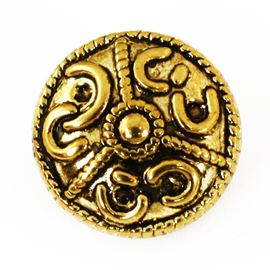 Viking Button. Antique Gold. 15mm / 24 Ligne