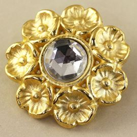 Floral Wreath Button. Gold & Crystal. 28mm / Ligne 44