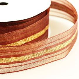 Sheer Wired Ribbon With Metallic Band. 40mm. Purple