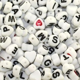 Heart Alphabet Beads - 250pc. 7mm White