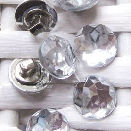 Faceted Acrylic Stone Button. Crystal. 11mm