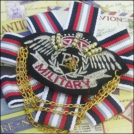 Military Corsage Ribbon & Chains.  110mm.  Nautical Stripe.