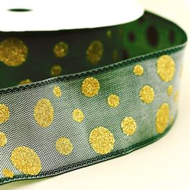 Wired Taffeta Ribbon With Metallic Spots. 25mm. Steel Grey