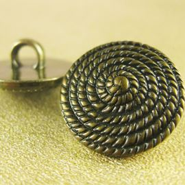 Coiled Rope Button. Gold. 15mm / 23 Ligne