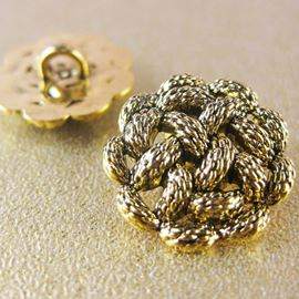Rope Knot Button. Gold. 18mm / 28 Ligne
