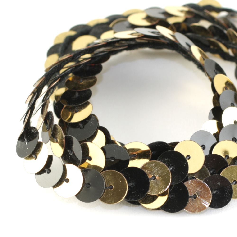 Strung Sequins. 8mm. Glossy Black & Metallic Gold