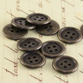 Flat Button - Vintage Bronze 14mm